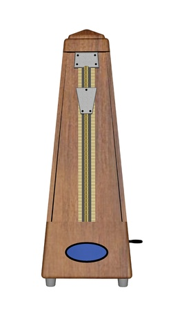 An old wood metronome on white background photo