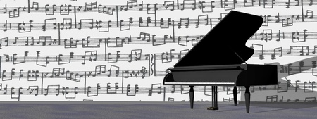 pianoforte: Black grand piano in a room with lots of notes on the wall