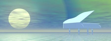 満月の夜によって単独で屋外白のグランド ピアノ