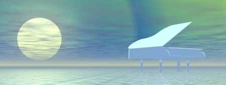 acoustically: White grand piano alone outdoor by full moon night