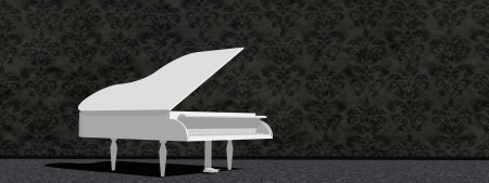 White grand piano in a room with dark wallpaper