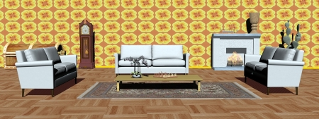 Interior of modern apartment with white sofas, carpet, fireplace and yellow wallpaper photo