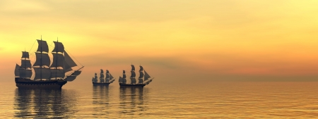 historical romance: Three beautiful old merchant ships floating on quiet water by sunset light
