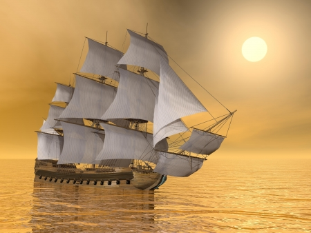 静かな水の夕日に浮かぶ美しい古い商人の船
