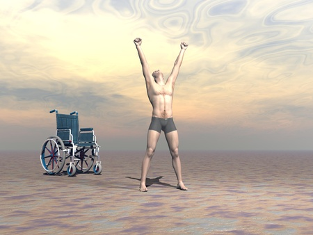 Happy man up from a wheelchair and manifesting hapiness to the sky with both arms up by sunset light photo