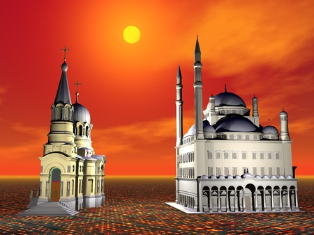 place of worship: Church and Mosque next to the other by beautiful red sunset