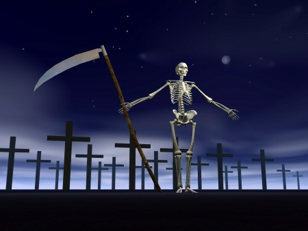welcoming: White skeleton welcoming scythe in hand at the entrance of cemetery with many crosses tombstone by dark night