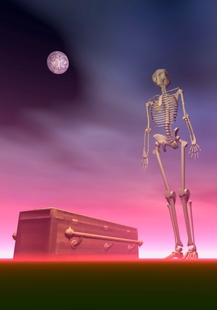 White skeleton next to a coffin by dark red night with full moon Stock Photo - 20864517