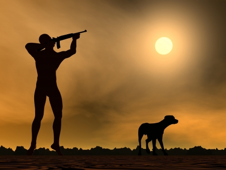 aside: Hunter holding rifle ready to shoot and a dog aside Stock Photo