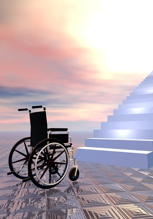 inaccessible: Wheelchair can not go further because of stairs, sunset sky