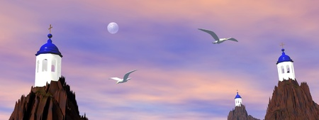 caldera: Greek churches on rock and birds flying by sunset colorful sky with full moon