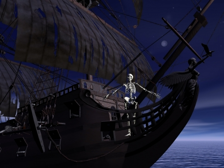 Captain skeleton at the front of a ghost boat by night time