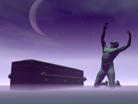 Silhouette man dispaired because of the death one beloved sitting next to a coffin by dark night with moon Stock Photo