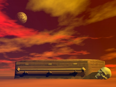 macabre: Macabre scene with skull next to a wooden coffin in dark red night background and full moon Stock Photo