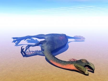 omnivorous: Gigantoraptor dinosaur lying dead in sunny and hot desert