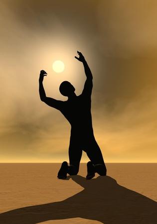 man praying: Back of a man praying to the sun by sunset