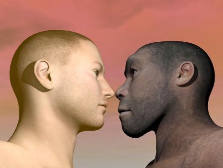 Un portrait de l'homme moderne Homo Erectus face à l'homme en arrière-plan coloré