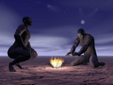 origen animal: Dos hombres homo erectus alrededor de un pequeño fuego en la noche Foto de archivo