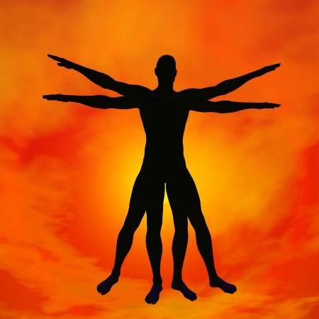 ウィトルウィウス的人間または Leonardo ダ ・ ヴィンチ、赤い夕日を背景に設計コンセプトとしての人間の影