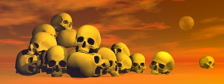 Pile of skulls in cloudy red background with full moon photo