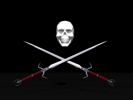 saber tooth: Jolly Roger pirate flag with skull and two crossing swords in black background