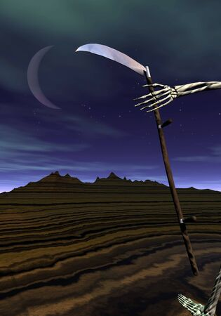 Scythe held into skeleton hand walking by night in nature Stock Photo - 20865302