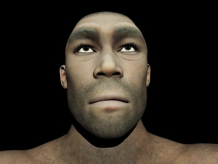 hominid: Portrait of a male Homo Erectus, prehistoric ancestor that lived around 1 8 million years ago, in black background Stock Photo