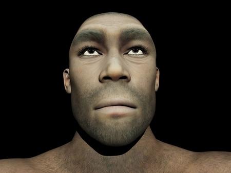 erectus: Retrato de un Homo Erectus, antepasado prehist�rico hombre que vivi� hace alrededor de 1 8 millones de a�os, en el fondo negro