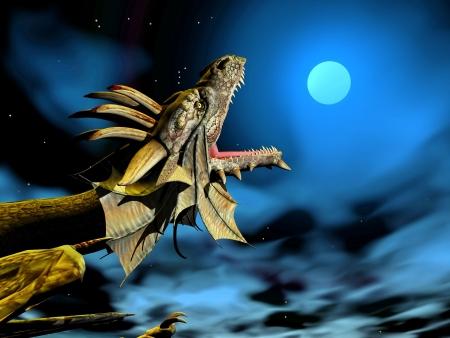 Hoofd van de draak mond wijd open bij volle maan 's nachts Stockfoto