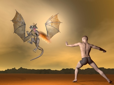 spitting: Young man fighting winged dragon spitting fire out by brown sunset Stock Photo
