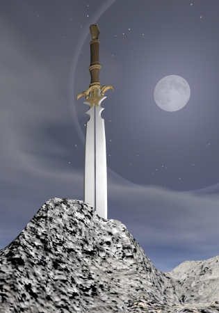 sword fight: Magic sword stuck in the rock by grey night with full moon Stock Photo