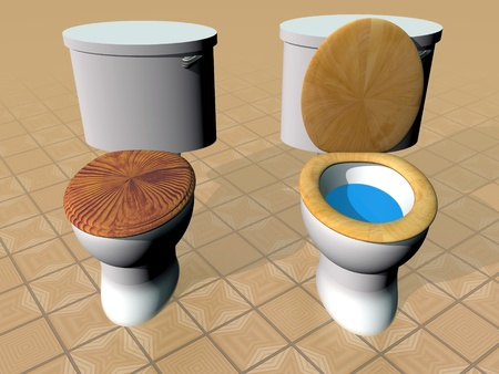 Open and closed toilets on brown tiles photo