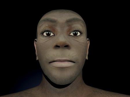 hominid: Portrait of a female Homo Erectus, prehistoric ancestor that lived around 1 8 million years ago, in black background