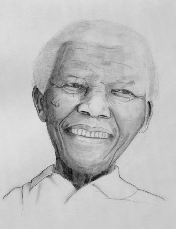 GENEVA - JULY 21: Nelson Mandela drawing portrait on paper with grey pencils made the 21st of july, 2013 in Geneva, Switzerland.