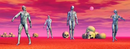 hallow: Zombies walking strangely among lots of skulls on the ground by colorful full moon night