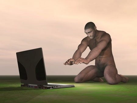 Homo Erectus man wondering what is a computer photo
