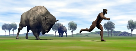 Aggressive bison charging Homo Erectus man running out to escape photo