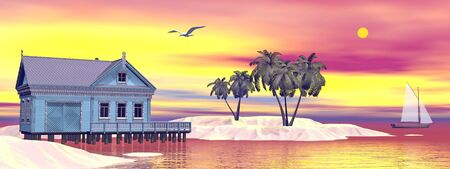 lagoon: Tropical bungalow and palm trees next to amazing blue lagoon by sunset Stock Photo