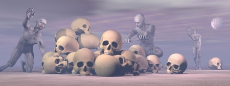 damnation: Several bloody zombies walking around lots of skulls by hazy full moon night Stock Photo