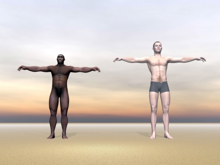 evolved: Modern human next to Homo Erectus man in colorful background