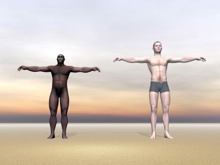 erectus: Modern humana junto al Homo Erectus hombre en el fondo colorido