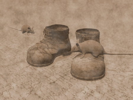 Old brown boots on the ground with rats around