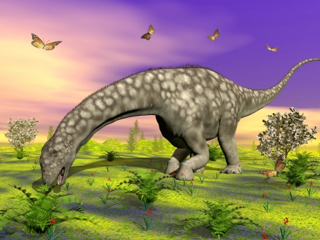 Big argentinosaurus dinosaur eating peacefully small plants, surrounded with butterflies and flowers by colorful sunset Фото со стока