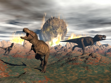 on end: Tyrannosaurus dinosaurs escaping or dying because of heat and fire due to a big meteorite crash