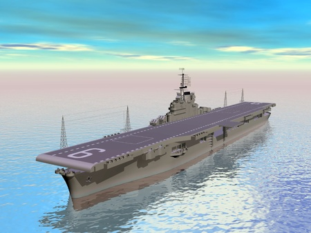 aircraft carrier: Aircraft carrier floating on the ocean and daylight Stock Photo