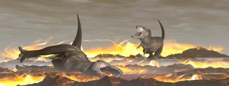 Dinosaures Tyrannosaurus s'échapper ou mourir à cause de la chaleur et un incendie dû à une grosse chute de météorite Banque d'images - 21404981