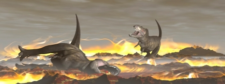 cretaceous: Tyrannosaurus dinosaurs escaping or dying because of heat and fire due to a big meteorite crash
