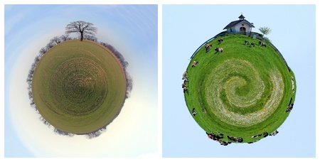 Two planet of countryside with church and cows in a meadow photo