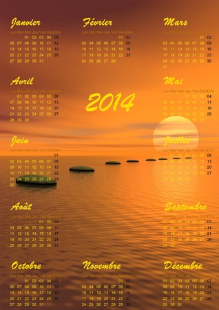 2014 calendar and grey stones steps upon ocean going to the sun by sunset in background photo