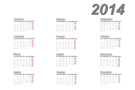 Italian calendar for 2014 on white background photo
